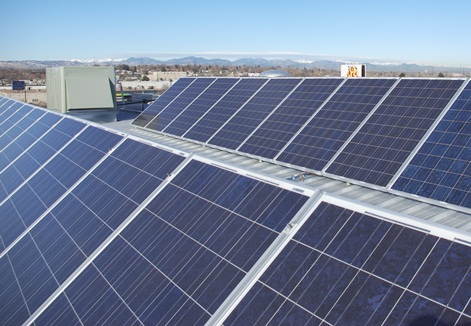 A Denver commercial phtotovoltaic installation is Pictured